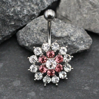 Gardenia Crystal Flower Belly Button Ring Stud Navel Piercing Jewelry 16G Clear and Pink CZ Crystals at MyBodiArt.com