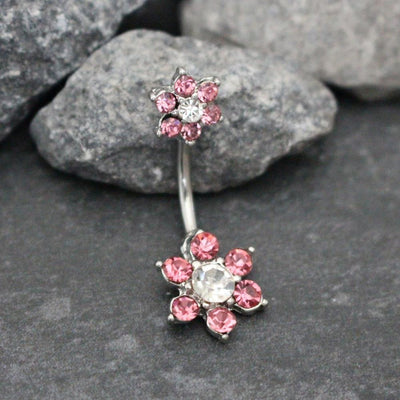Fleura Crystal Flower Belly Button Ring Stud 14G Clear and Pink at MyBodiArt.com