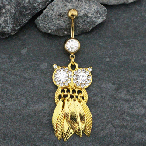 Screech Owl Crystal Gold Belly Button Ring at MyBodiArt.com