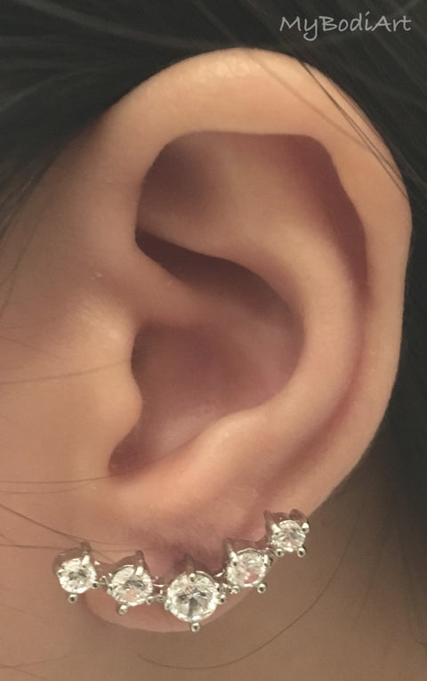 Cute Ear Piercing Ideas - Single 5 Crystal Lobe Earrings Studs - Jewellery Jewelry - www.MyBodiArt.com