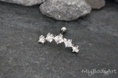 Cartilage Ear Piercing Jewelry Lobe Earring Studs Jewelry - 5 Crystal Barbell - www.MyBodiArt.com