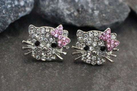Hello Kitty Crystal Stud Earrings at MyBodiArt.com