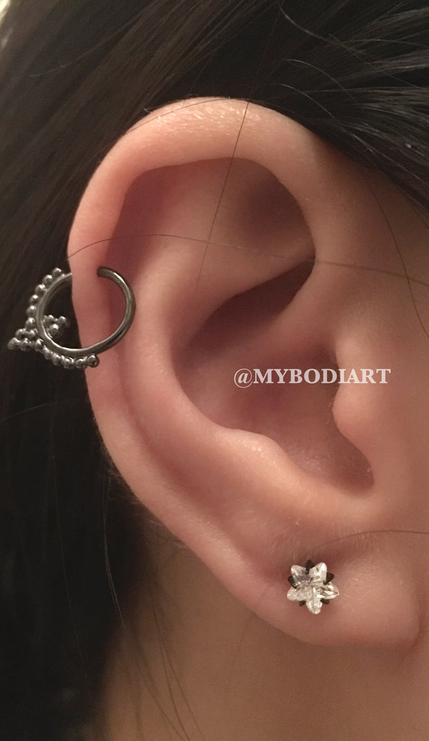 Pretty Mutliple Ear Piercings Ideas Tribal Boho Cartilage Ring Hoop in Black - Crystal Star Earrign Stud - www.MyBodiArt.com