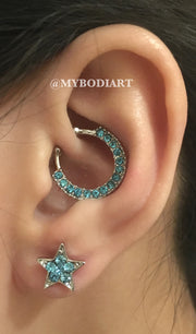 Classy Ideas Para Perforar Orejas - Daith Ring Rook Hoop Star Cartilage Earring Stud Blue Crystals 16G - www.MyBodiArt.com