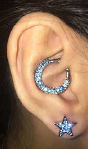 Cute Ear Piercing Ideas - Daith Earring Lobe Stud Ring Hoop Star Blue Crystal - Cartilage Helix Tragus - Ideas Para Perforar Orejas - www.MyBodiArt.com