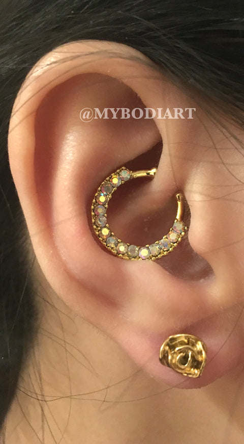 Unique Gold Ear Piercing Ideas - Large Rose Earring Stud -  Daith Ring Rook Hoop Crystal 16G -  at MyBodiArt.com