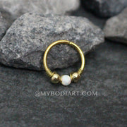 Opal Ear Piercing Ideas Jewelry in Gold for Cartilage Earring, Helix Ring, Daith Hoop, Rook, Conch at MyBodiArt.com