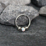 Andromeda Opal Cartilage, Helix, Septum, Rook, Daith Piercing Jewelry Earring Ring Hoop in Silver - www.MyBodiArt.com