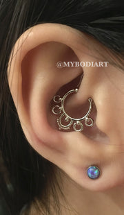 Pretty Ear Piercing Ideas Cartilage Opal Earring Studs Lobe Daith Rook Ring Hoop - www.MyBodiArt.com