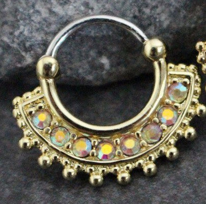 Iggy Septum Clicker 16G Crystal Fan at MyBodiArt.com - Gold Septum Piercing Jewelry