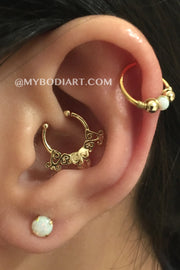 Unique Ear Piercing Ideas for Women - Gold Cartilage Ring Hoop - Opal Earring Stud - Tribal Boho Daith - www.MyBodiArt.com