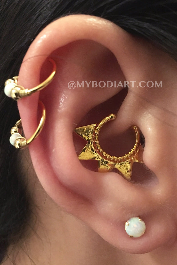 Cartilage Ear Piercing Ideas Double Ring Hoop Opal Gold Multiple Cute Daith Earring Lobe Studs - www.MyBodiArt.com