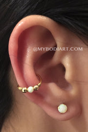 Classy Multiple Ear Piercing Ideas - Cute Orbital Conch Opal Gold Earring Ring Hoop Stud - www.MyBodiArt.com
