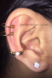 Cute Multiple Ear Piercing Ideas Double Cartilage Ring Hoops Conch Earring Opal Lobe Stud Pretty Feminine Gold - www.MyBodiArt.com
