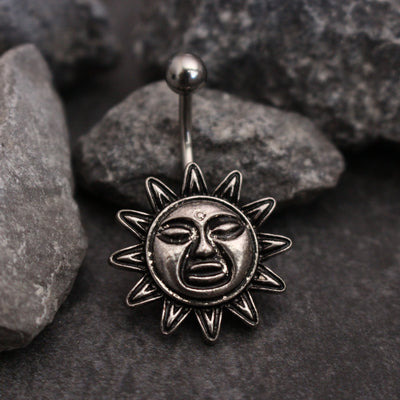 Paloma Tribal Sun Belly Button Ring Stud in 16G Silver at MyBodiArt.com