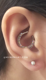 Cute Ear Piercing Ideas Cartilage Ring Helix Hoop Daith Rook Earring Stud - www.MyBodiArt.com