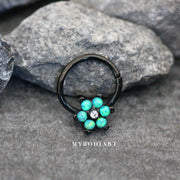 Green Opal Floral Flower Black Hoop Seamless Earring Ring for Cartilage, Tragus, Helix Septum Nipple Jewelry - www.MyBodiArt.com