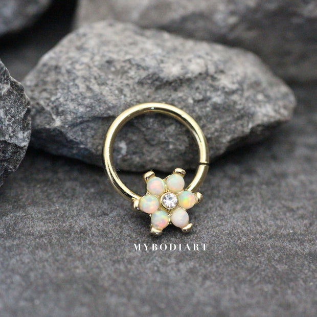 Opal Floral Flower Gold Hoop Seamless Earring Ring for Cartilage, Tragus, Helix Septum Nipple Jewelry - www.MyBodiArt.com