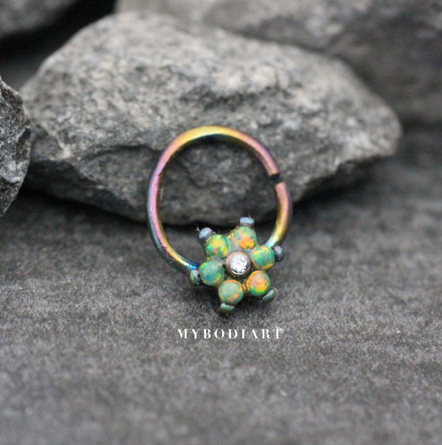 Green Opal Floral Flower Rainbow Hoop Seamless Earring Ring for Cartilage, Tragus, Helix Septum Nipple Jewelry - www.MyBodiArt.com