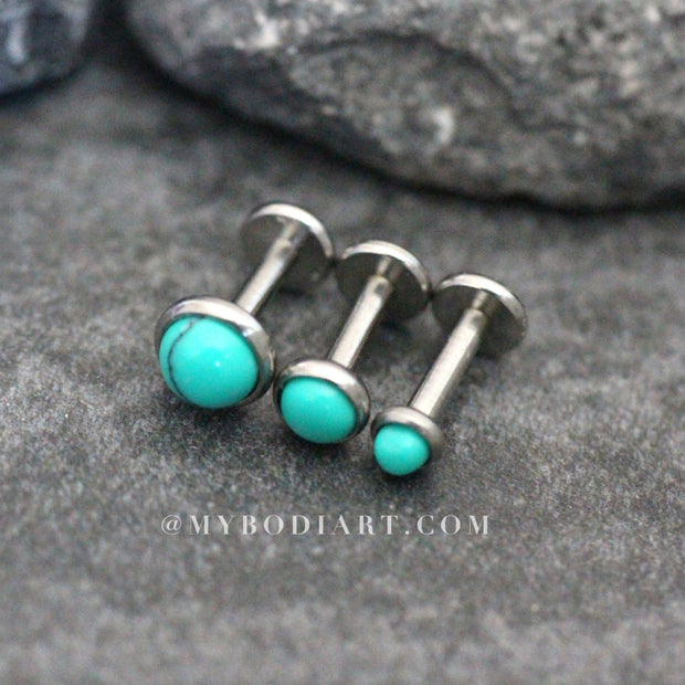 Erie Turquoise Ear Piercing Earring Studs 16G for Cartilage, Helix, Conch, Tragus Piercings - www.MyBodiArt.com