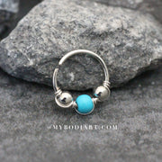 Cute Turquoise Earring Rings 16G for Cartilage, Helix, Conch, Tragus, Piercings - www.MyBodiArt.com