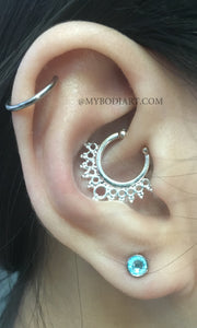 Cute Ear Piercing Ideas Cartilage Ring Hoop Blue Crystal Earring Stud - www.MyBodiArt.com