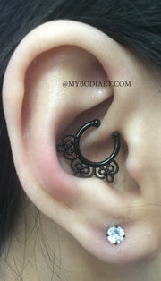 Creative Unique Ear Piercing Ideas - Black Daith Cartilage Ring Hoop - Crystal Earring Lobe Stud - www.MyBodiArt.com