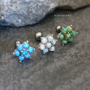 Maryllis Cute Opal Flower Ear Piercing Jewelry 16G Earring Studs
