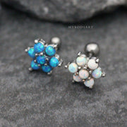 Cute Opal Flower Ear Piercing Earring Studs Jewelry Ideas for Cartilage, Helix, Conch, Tragus - www.MyBodiArt.com