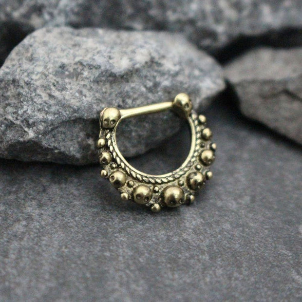 Bourgeous Tribal Antiqued Bronze 16G Septum Clicker