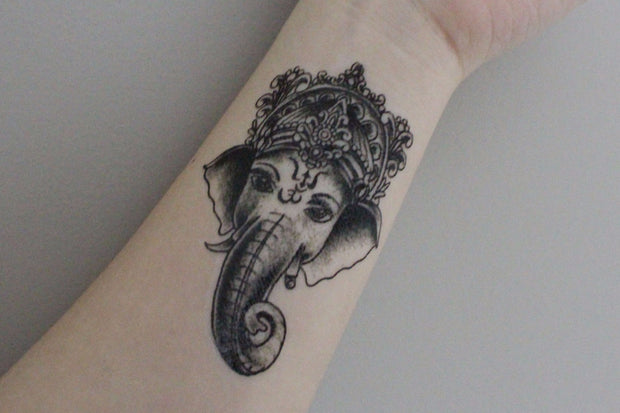 Black & White Ganesha Tribal Temporary Tattoo