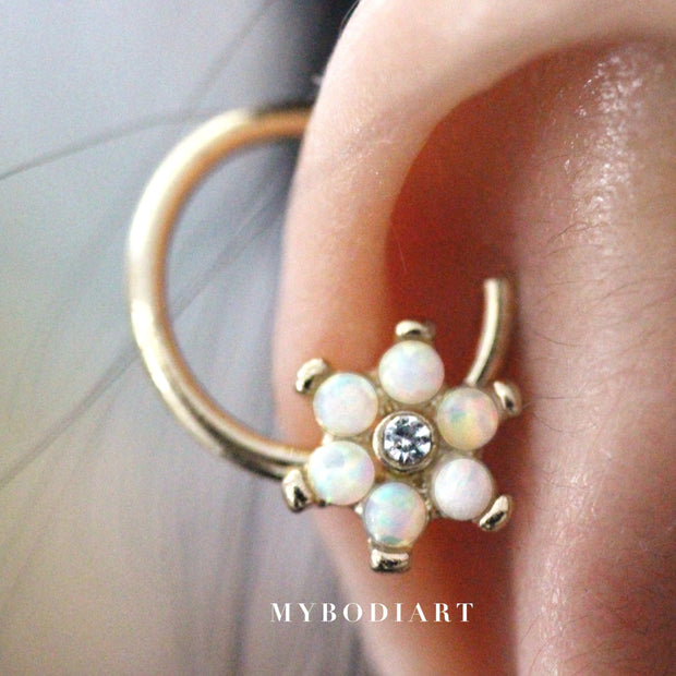 Unique Cartilage Ear Piercing Ideas for Women - Gold Opal Floral Flower Seamless Ring Hoop Earring for Cartilage Conch Tragus Septum Nipple - www.MyBodiArt.com #earrings
