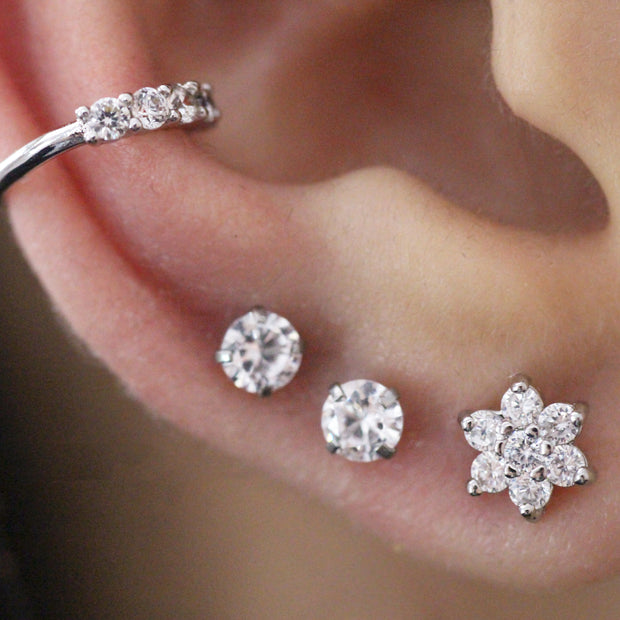 Cute Crystal Flower Multiple Ear Piercing Ideas for Conch Ear Lobe Cartilage Helix Earring Studs -  lindas ideas para perforar orejas para mujeres - www.MyBodiArt.com
