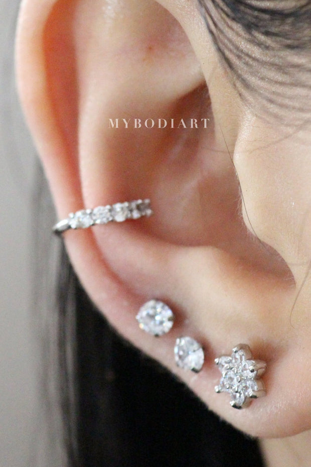 Classy Ear Piercing Ideas for Teens Girls - Crystal Cartilage Tragus Conch Helix Earring Stud 16G - www.MyBodiArt.com #earrings