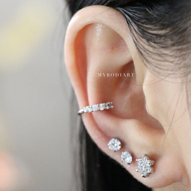 Cute Crystal Conch Ear Cuff Ear Piercing Ideas for Women -  Flower Earring Stud 16G - lindas ideas para perforar orejas para mujeres - www.MyBodiArt.com
