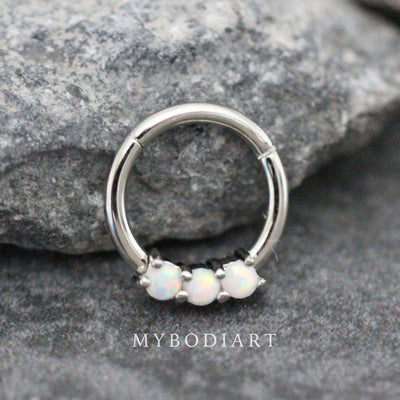 Simple Triple 3 Opal Ear Piercing Jewelry for Cartilage Helix Daith Rook Earring Septum Ring Hoop - www.MyBodiArt.com