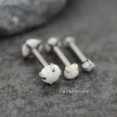 Beautiful Opal Ear Piercing Jewelry Ideas for Women for Cartilage, Helix, Tragus, Conch Earring Stud 16G - www.MyBodiArt.com