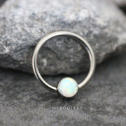 Cute Opal Captive Bead Ring Ear Piercing Septum Jewelry Ideas for Women for Cartilage Helix Daith Conch Rook Earring - www.MyBodiArt.com