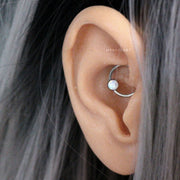 Simple Opal Daith Ear Piercing Jewelry Ideas - Silver Captive Bead Ring Earring 16G - Ideas simples para perforar los oídos de las mujeres - www.MyBodiArt.com