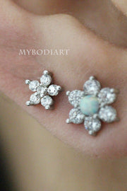 Cute Crystal Flower Ear Piercing Jewelry Ideas for Women for Cartilage, Helix, Tragus, Conch Earring Stud - www.MyBodiArt.com