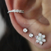 Cute Multiple Ear Piercing Jewelry ideas for Women - Small Silver Crystal Ear Cuff Earring for Cartilage, Helix, Conch -www.MyBodiArt.com