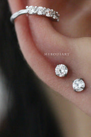 Cute Ear Piercing Ideas - Crystal Earring Stud for Cartilage, Helix, Conch, Tragus Earring Stud - www.MyBodiArt.com