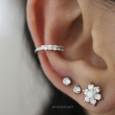 Unique & Cute Ear Piercing Jewelry Ideas for Women - Crystal Opal Star Flower Earring Stud for Cartilage, Helix, Tragus, Conch, Ear Lobe - www.MyBodiArt.com #earpiercing #cartilage #earrings #tragus #helix