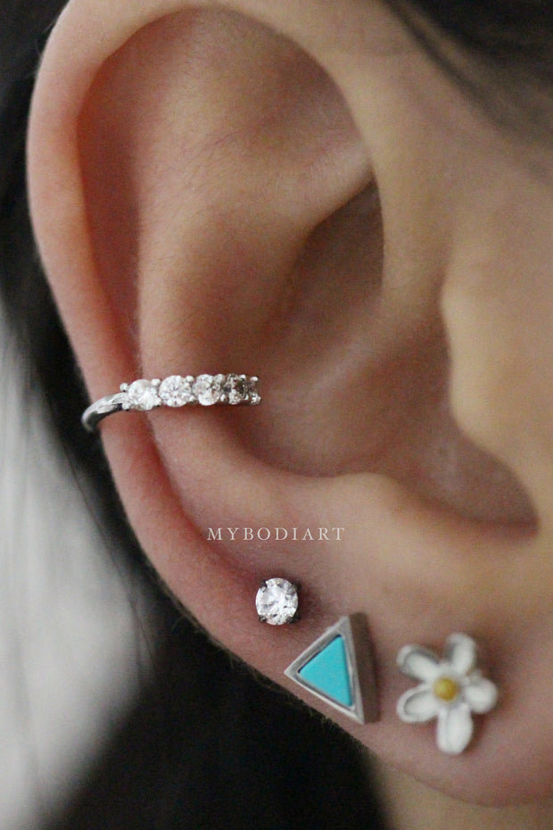 Cute Unique Classy Ear Piercing Jewelry Ideas for Women - Gold Feather Leaf Cartilage, Tragus, Helix, Conch, Earlobe Earring Stud 16G Bar - www.MyBodiArt.com #earpiercing #piercing #cartilage #helix