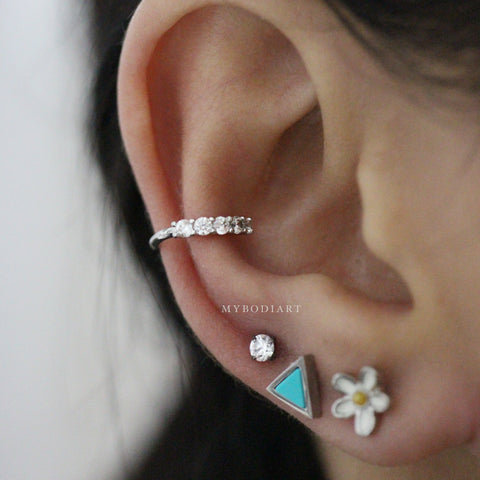 Cute Multiple Ear Piercing Jewelry Ideas for Women - Crystal Earring Stud 16G Silver for Cartilage, Helix, Conch, Tragus - www.MyBodiArt.com #earpiercing #piercing