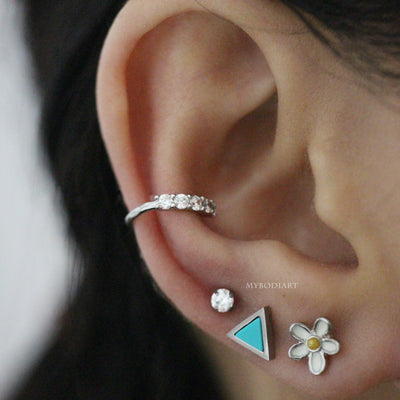 Cute Multiple Ear Piercing Jewelry Ideas for Women - Triangle Turquoise Earring Stud for Cartilage, Tragus, Conch, Helix -  www.MyBodiArt.com