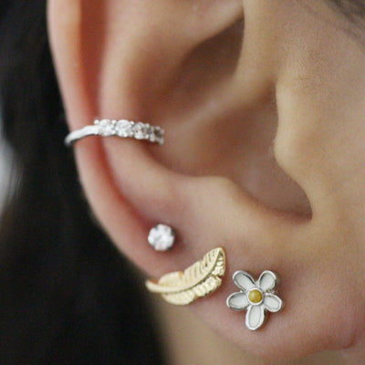 Multiple Ear Piercing Jewelry Ideas for Women - Cute Daisy Enamel Earring Stud for Cartilage, Helix, Tragus, Conch - www.MyBodiArt.com #piercing #earpiercing #cartilage #helix #tragus