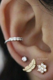 Simple Gold Feather Ear Piercing Jewelry Ideas for Cartilage, Helix, Tragus Earring Stud - www.MyBodiArt.com