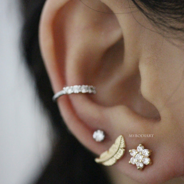 Cute Unique Multiple Ear Piercing Jewelry Ideas for Women - Crystal Flower Cartilage, Helix, Conch, Tragus Earring - www.MyBodiArt.com