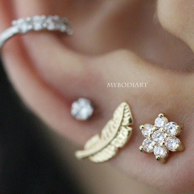 Beautiful Multiple Flower Ear Piercing Jewelry Ideas for Women -  ideas de joyería piercing del oído - www.MyBodiArt.com